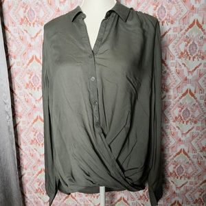 BeachLunchLounge Button-front wrap Blouse XL Green